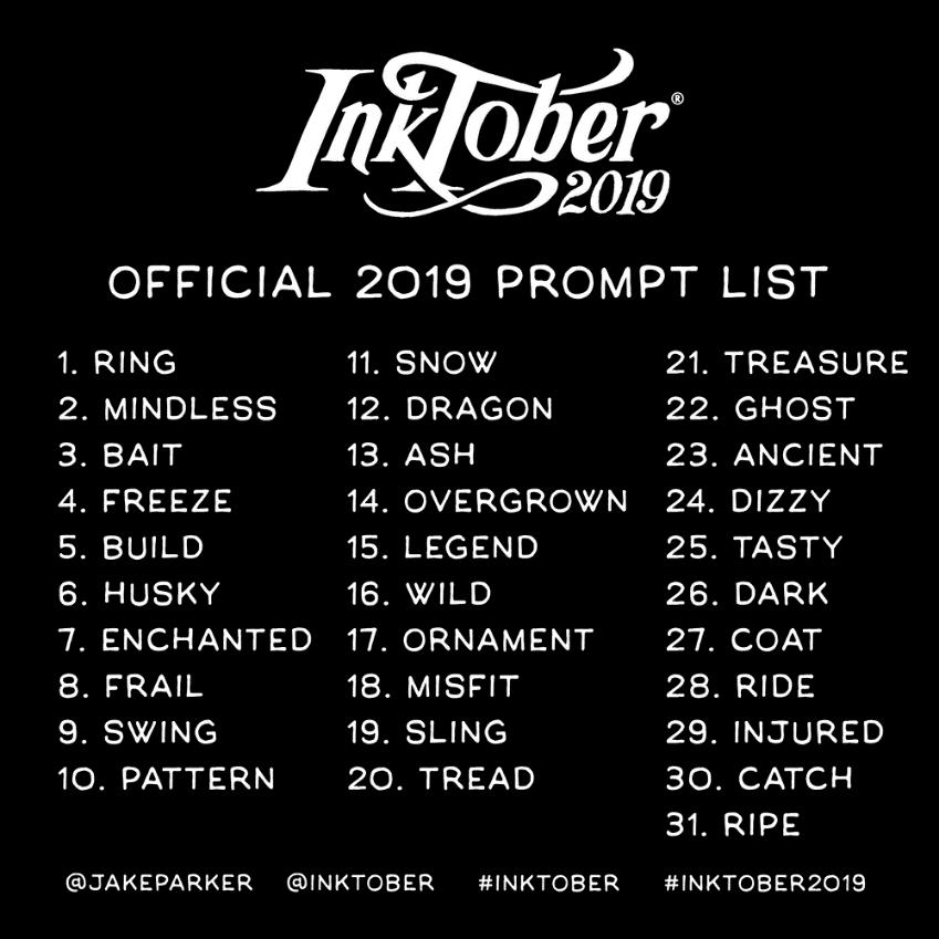 lista Inktober 2019 inglés